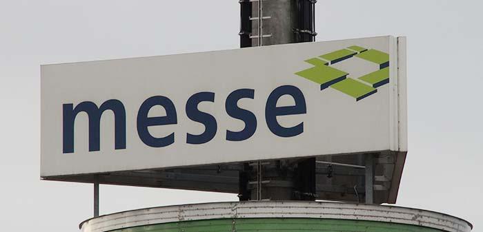 Messe Schild der Messe Augsburg als Closeup