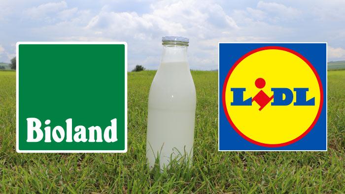 Milchflasche zwischen Bioland und Lidl.